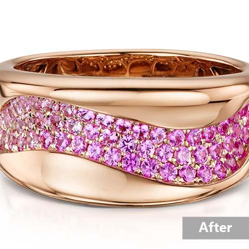 Jewelry retouching service-Zenone studio - change jewelry color yellow rose a