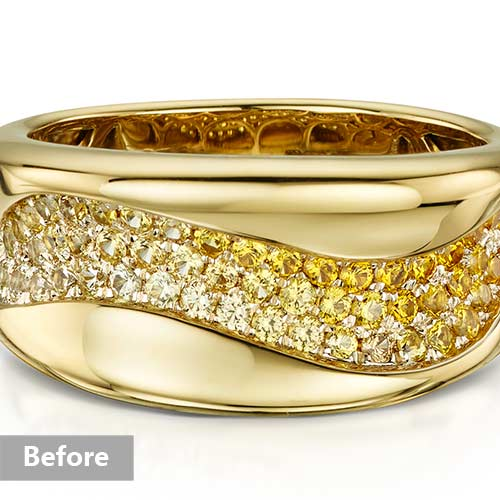 Jewelry retouching service-Zenone studio - change jewelry color yellow rose b