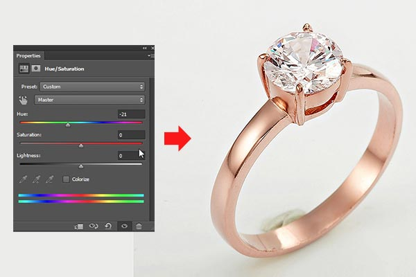 Jewelry retouching service-Zenone studio - Change color by dragging Hue slider.