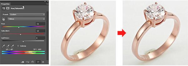 Jewelry retouching service-Zenone studio - Lowering the saturation