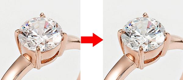 Jewelry retouching service-Zenone studio - correct pink color for the diamond