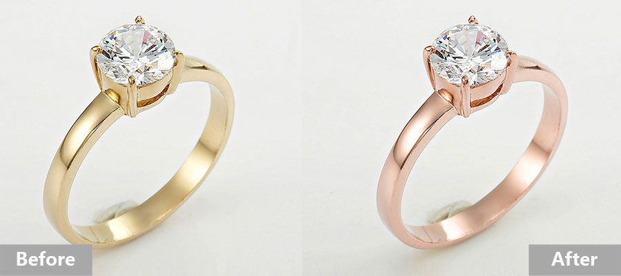 Jewelry retouching service-Zenone studio - how to change jewelry color before after
