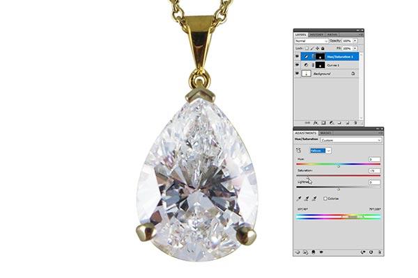 Jewelry retouching service-Zenone studio - how to correct diamond color cast step 5