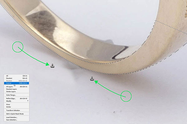 Jewelry retouching service-Zenone studio - how to remove wax step 4 retouch background