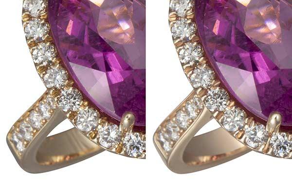 Jewelry retouching service-Zenone studio - how to retouch a diamond ring retouch metal detail