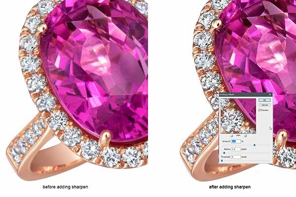 Jewelry retouching service-Zenone studio - how to retouch a diamond ring retouch sharpen