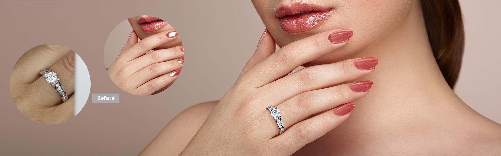 jewelry retouching service,merge ring to model hand