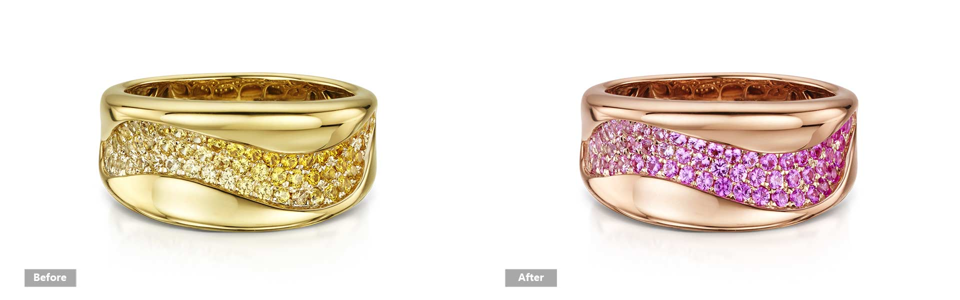 change jewelry color, change yellow gold to rose gold