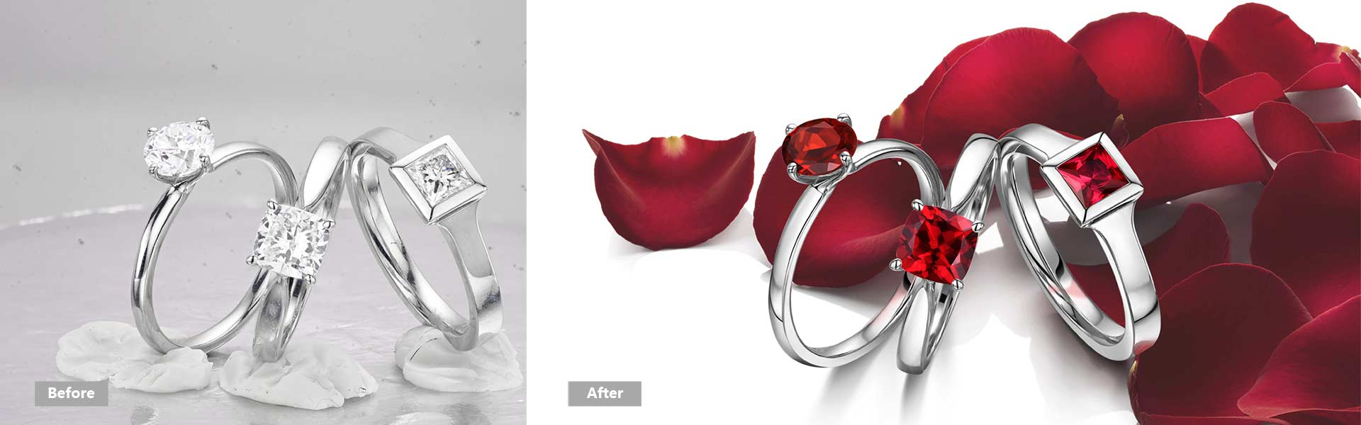 high end jewelry retouching,,merge ring to rose background